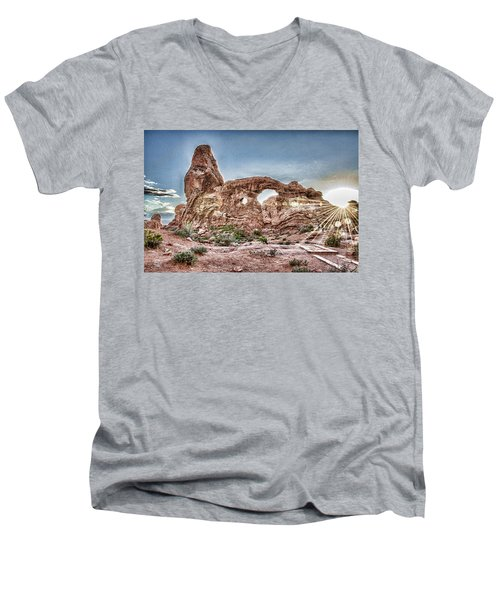 Men's V-Neck T-Shirt featuring the photograph North Window Sundown Star by Daniel Hebard