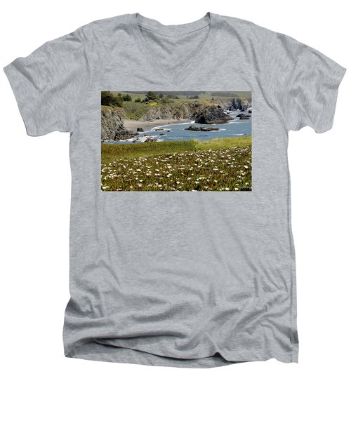Northern California Coast Scene Men's V-Neck T-Shirt by Mick Anderson