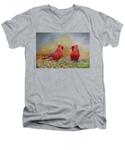 Northern Cardinals In Sea Of Flowers Men's V-Neck T-Shirt