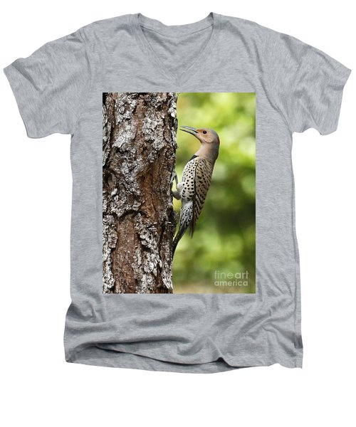 Northern Flicker On The Hunt Men's V-Neck T-Shirt