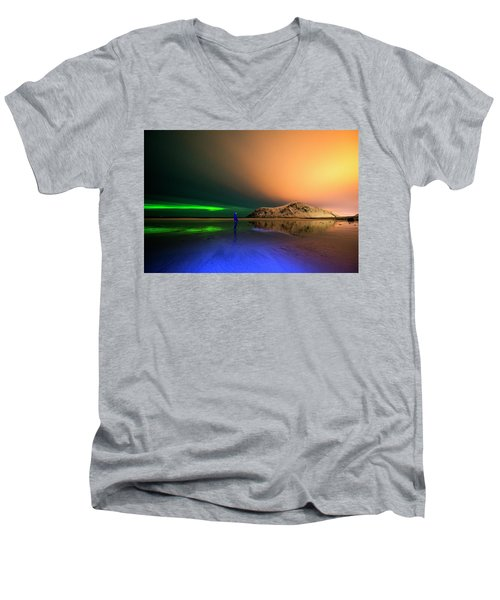 Northern Light In Lofoten, Nordland 4 Men's V-Neck T-Shirt
