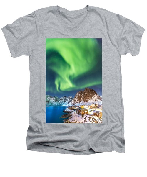 Northern Lights In Hamnoy Men's V-Neck T-Shirt by Alex Conu