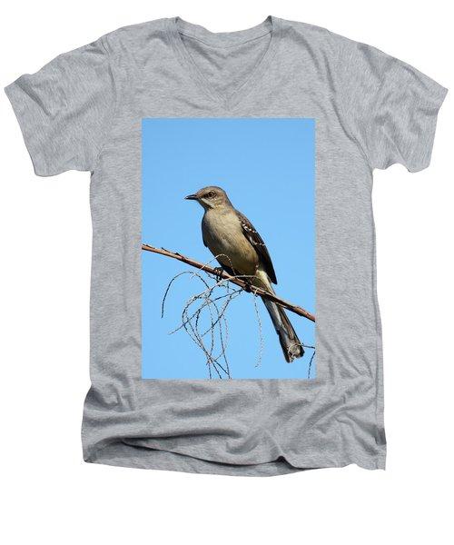 Northern Mockingbird Men's V-Neck T-Shirt by Bruce J Robinson