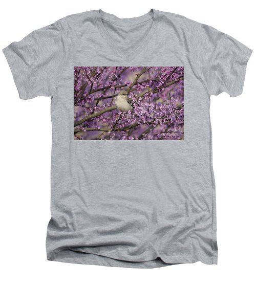 Northern Mockingbird In Blooming Redbud Tree Men's V-Neck T-Shirt by Nature Scapes Fine Art