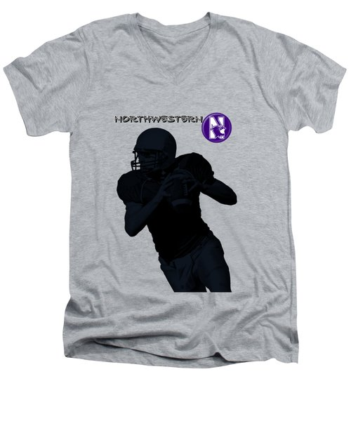 Northwestern Football Men's V-Neck T-Shirt