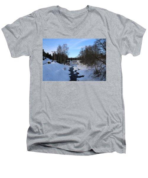 Norwegian Winter Landscape.  Men's V-Neck T-Shirt