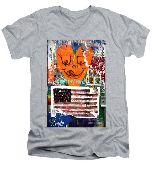 Not My President Men's V-Neck T-Shirt by John Rizzuto
