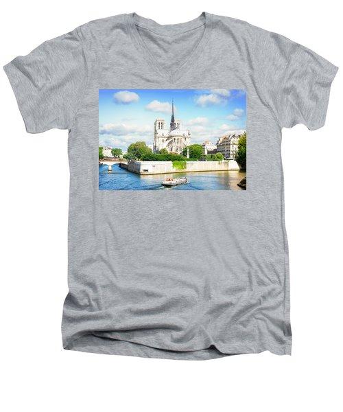 Notre Dame Cathedral, Paris France Men's V-Neck T-Shirt by Anastasy Yarmolovich