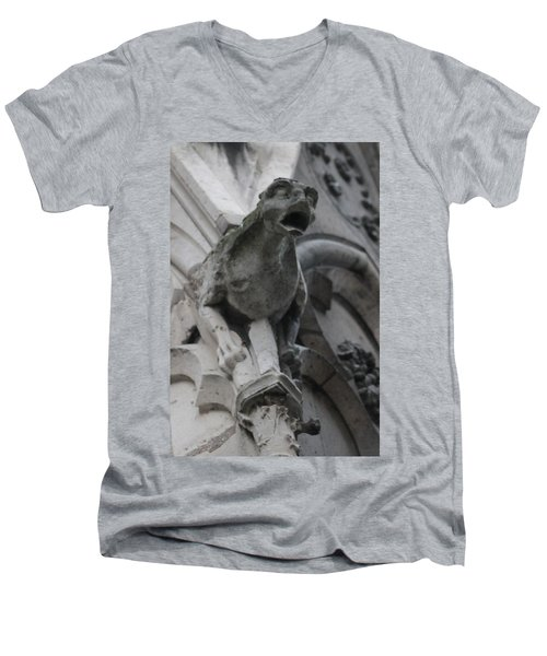 Notre Dame Gargoyle Grotesque Men's V-Neck T-Shirt by Christopher Kirby