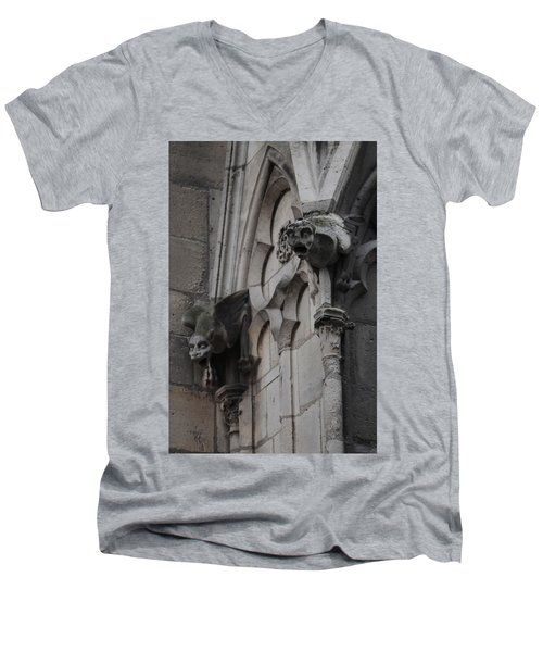 Notre Dame Grotesques Men's V-Neck T-Shirt by Christopher Kirby