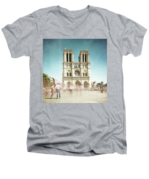 Men's V-Neck T-Shirt featuring the photograph Notre Dame by Hannes Cmarits