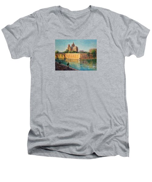Notre Dame In Sunshine Men's V-Neck T-Shirt