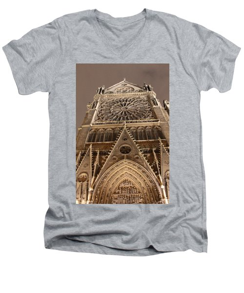 Men's V-Neck T-Shirt featuring the photograph Notre Dame North by Christopher Kirby