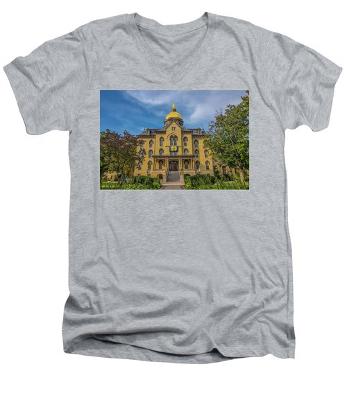 Men's V-Neck T-Shirt featuring the photograph Notre Dame University Golden Dome by David Haskett