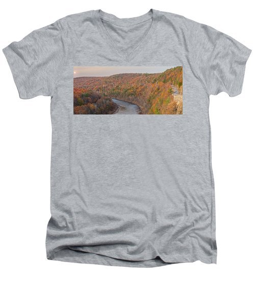 November Golden Hour At Hawk's Nest Men's V-Neck T-Shirt