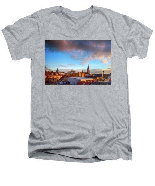 Novi Sad Roofs Lit By The Setting Sun Men's V-Neck T-Shirt by Jivko Nakev