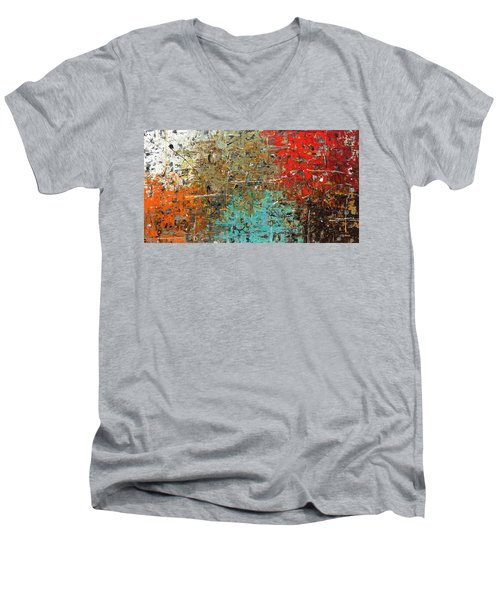 Men's V-Neck T-Shirt featuring the painting Now Or Never by Carmen Guedez