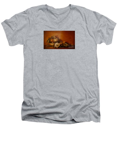 Men's V-Neck T-Shirt featuring the painting Nsdp/design by Patricia Schneider Mitchell