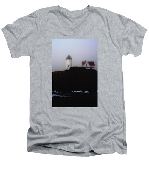 Men's V-Neck T-Shirt featuring the photograph Nubble Light House by Richard Ortolano