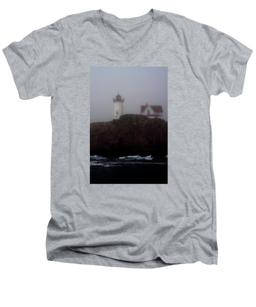 Fog Lifting Men's V-Neck T-Shirt by Richard Ortolano