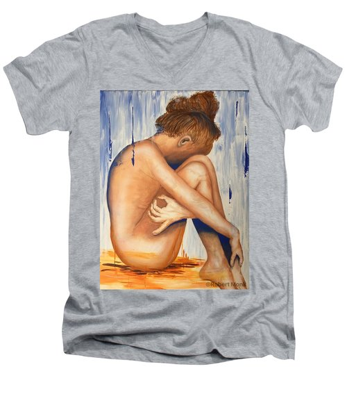 Nude In The Rain Men's V-Neck T-Shirt