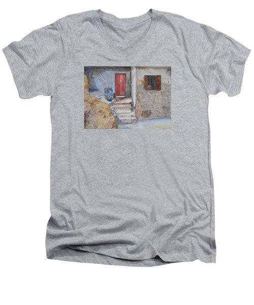 Number 3 Men's V-Neck T-Shirt by Christine Lathrop