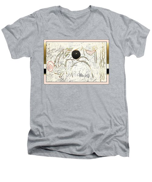 Men's V-Neck T-Shirt featuring the painting Nuprimitive Cave Painting - One by Larry Talley