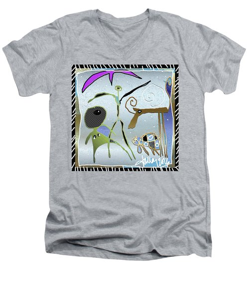 Men's V-Neck T-Shirt featuring the painting Nuprimitive Cave Painting - Two  by Larry Talley