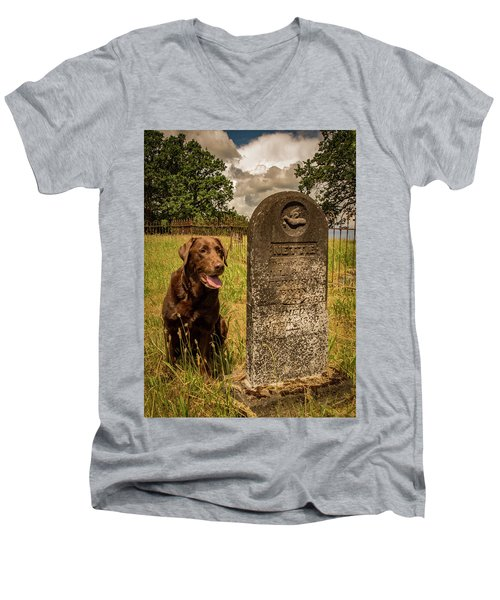 Men's V-Neck T-Shirt featuring the photograph Nute In The Cemetery by Jean Noren