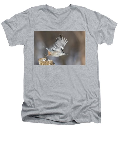 Men's V-Neck T-Shirt featuring the photograph Nuthatch In Action by Mircea Costina Photography