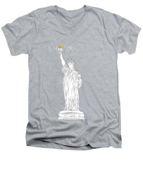 Ny Statue Of Liberty Line Art Men's V-Neck T-Shirt by BONB Creative