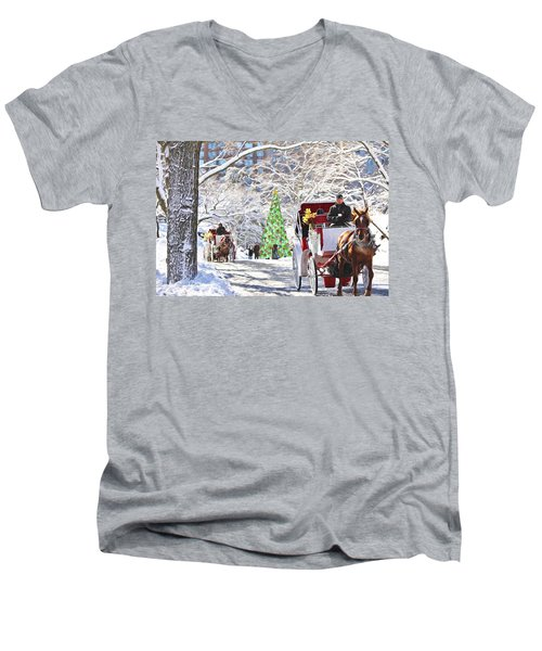 Festive Winter Carriage Rides Men's V-Neck T-Shirt by Sandi OReilly