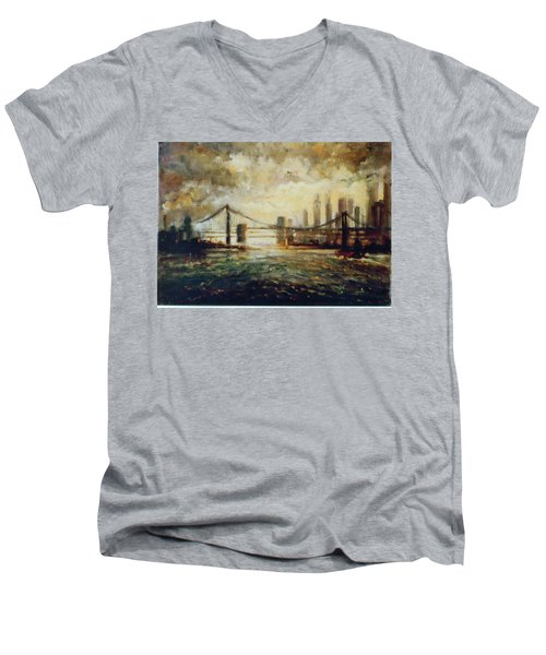 Men's V-Neck T-Shirt featuring the painting Nyc Harbor by Walter Casaravilla