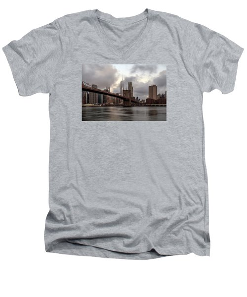 Nyc In The Am Men's V-Neck T-Shirt by Anthony Fields