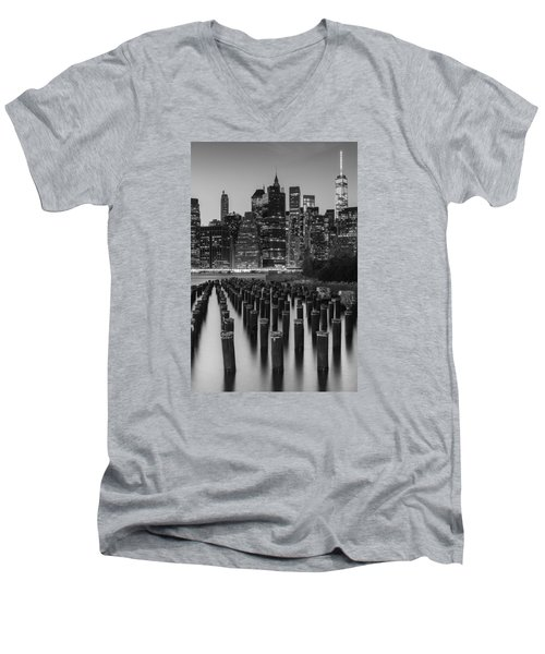 Men's V-Neck T-Shirt featuring the photograph Nyc Skyline Bw by Laura Fasulo