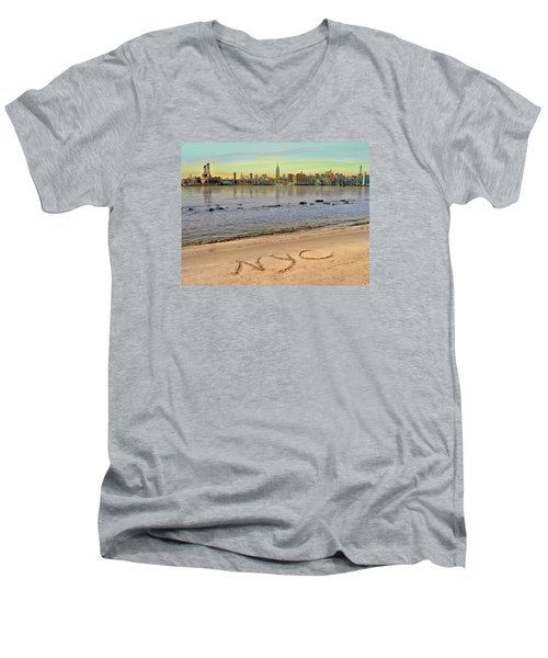 NYC Men's V-Neck T-Shirt by Nina Bradica