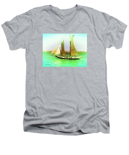 Men's V-Neck T-Shirt featuring the painting Nyc Sailing by Denise Tomasura