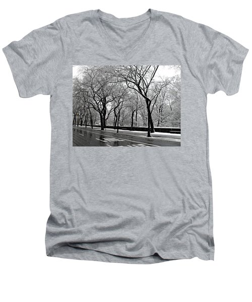 Men's V-Neck T-Shirt featuring the photograph Nyc Winter Wonderland by Vannetta Ferguson