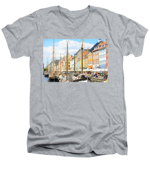 Nyhavn Men's V-Neck T-Shirt by Calvin Roberts Photography