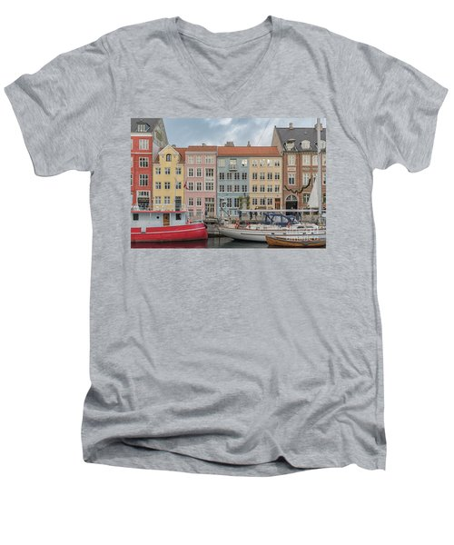 Men's V-Neck T-Shirt featuring the photograph Nyhavn Waterfront In Copenhagen by Antony McAulay
