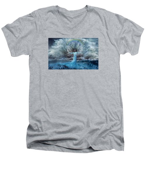 Nymph Of  The Water Men's V-Neck T-Shirt by Lilia D