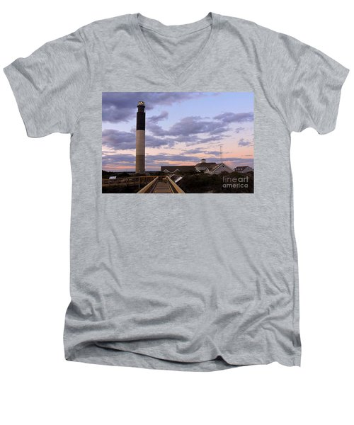 Men's V-Neck T-Shirt featuring the photograph Oak Island Lighthouse by Shelia Kempf
