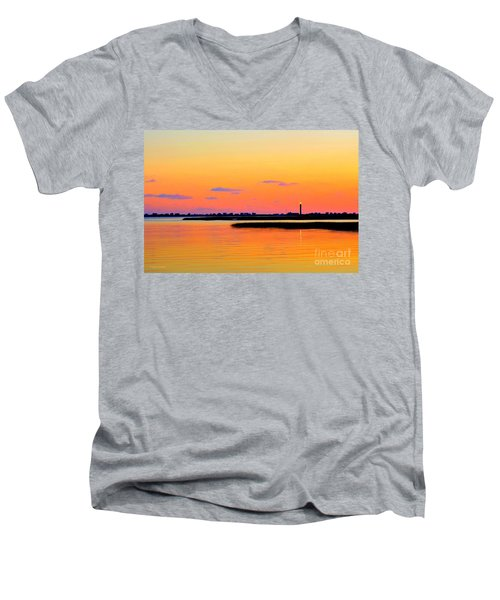 Men's V-Neck T-Shirt featuring the photograph Oak Island Lighthouse Sunset by Shelia Kempf