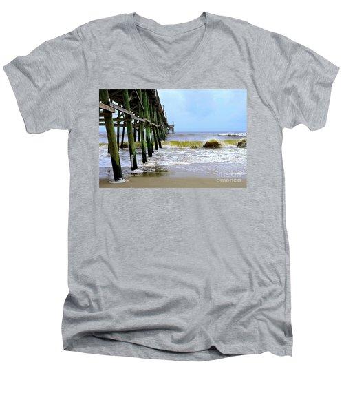 Oak Island Pier Before H.matthew Men's V-Neck T-Shirt