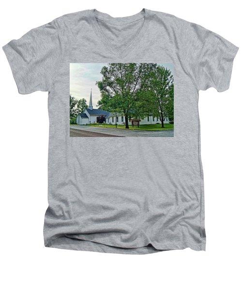 Men's V-Neck T-Shirt featuring the photograph Oakland Christian Church by Cricket Hackmann