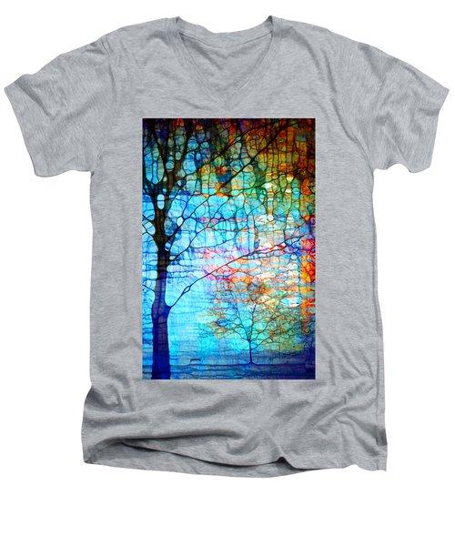 Obscured In Blue Men's V-Neck T-Shirt