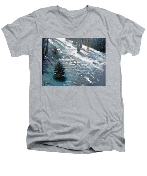 Men's V-Neck T-Shirt featuring the painting Observing Snow by Gary Coleman