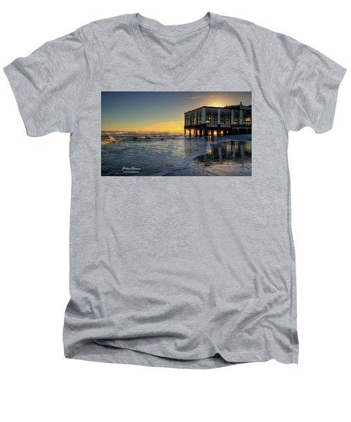 Oc Music Pier Sunset Men's V-Neck T-Shirt by John Loreaux
