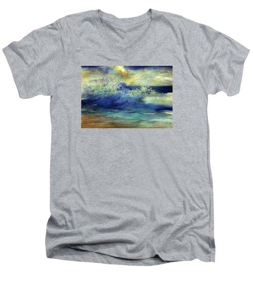 Men's V-Neck T-Shirt featuring the painting Ocean by Allison Ashton