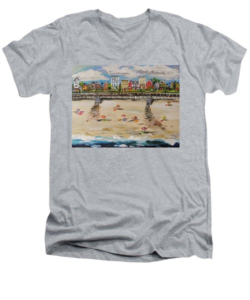 Men's V-Neck T-Shirt featuring the painting Ocean Ave By John Williams by John Williams